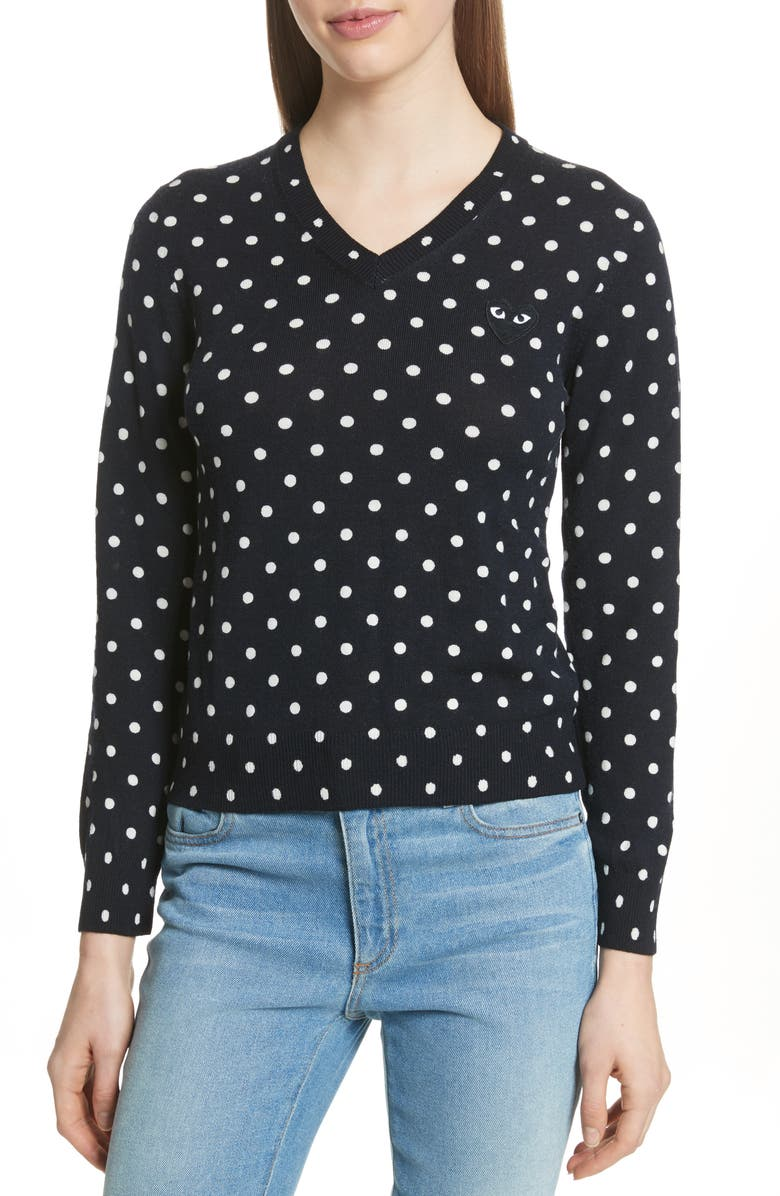 COMME DES GARÇONS PLAY Black Heart Pullover, Main, color, NAVY