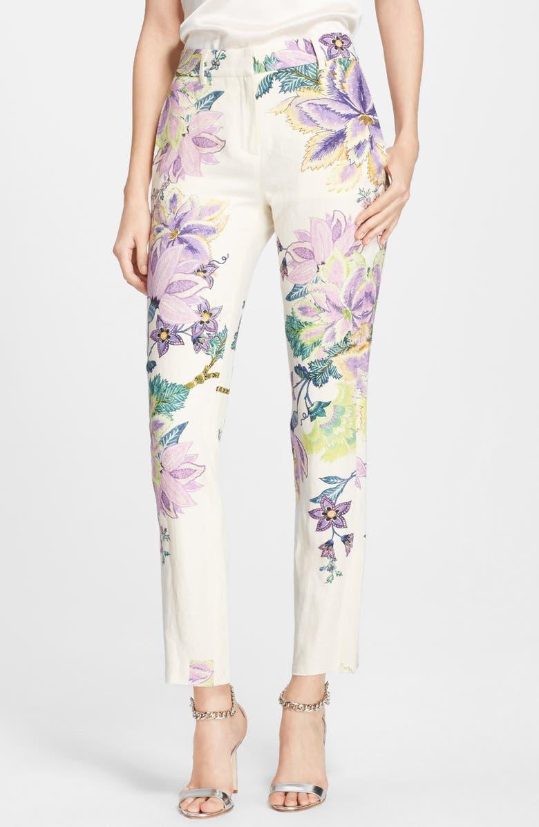 ROBERTO CAVALLI Floral Print Crop Pants, Main, color, 120