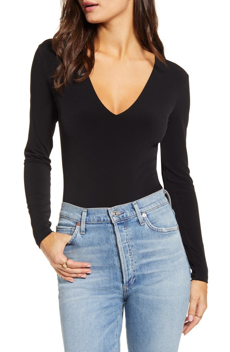 LEITH Deep V-Neck Long Sleeve Bodysuit, Main, color, BLACK