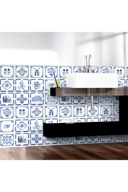 Image of WalPlus Dutch Blue Tiles Wall Stickers