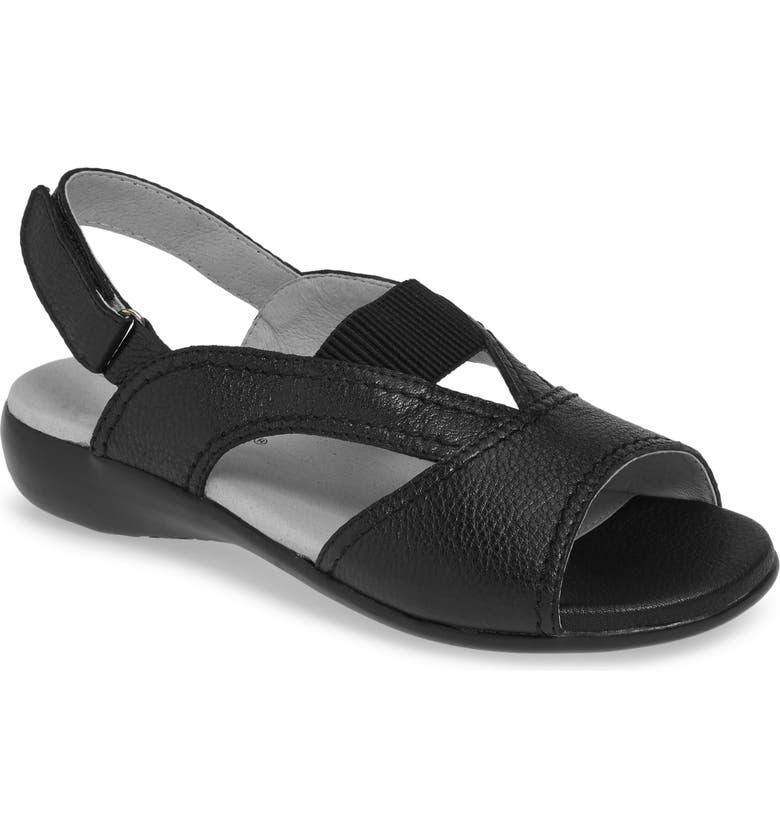 DAVID TATE Swish Sandal, Main, color, BLACK PEBBLE GRAIN LEATHER