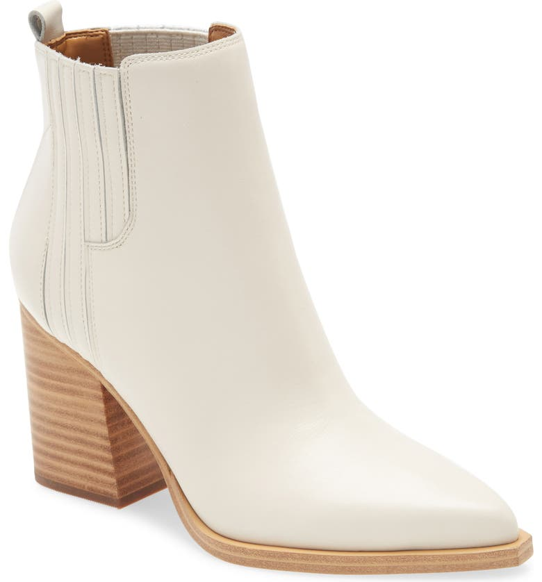 MARC FISHER LTD Oshay Pointed Toe Bootie, Main, color, IVORY LEATHER