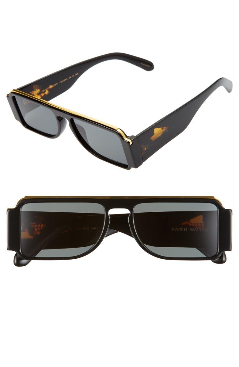 KAREN WALKER Grandmaster 54mm Sunglasses, Main, color, 001