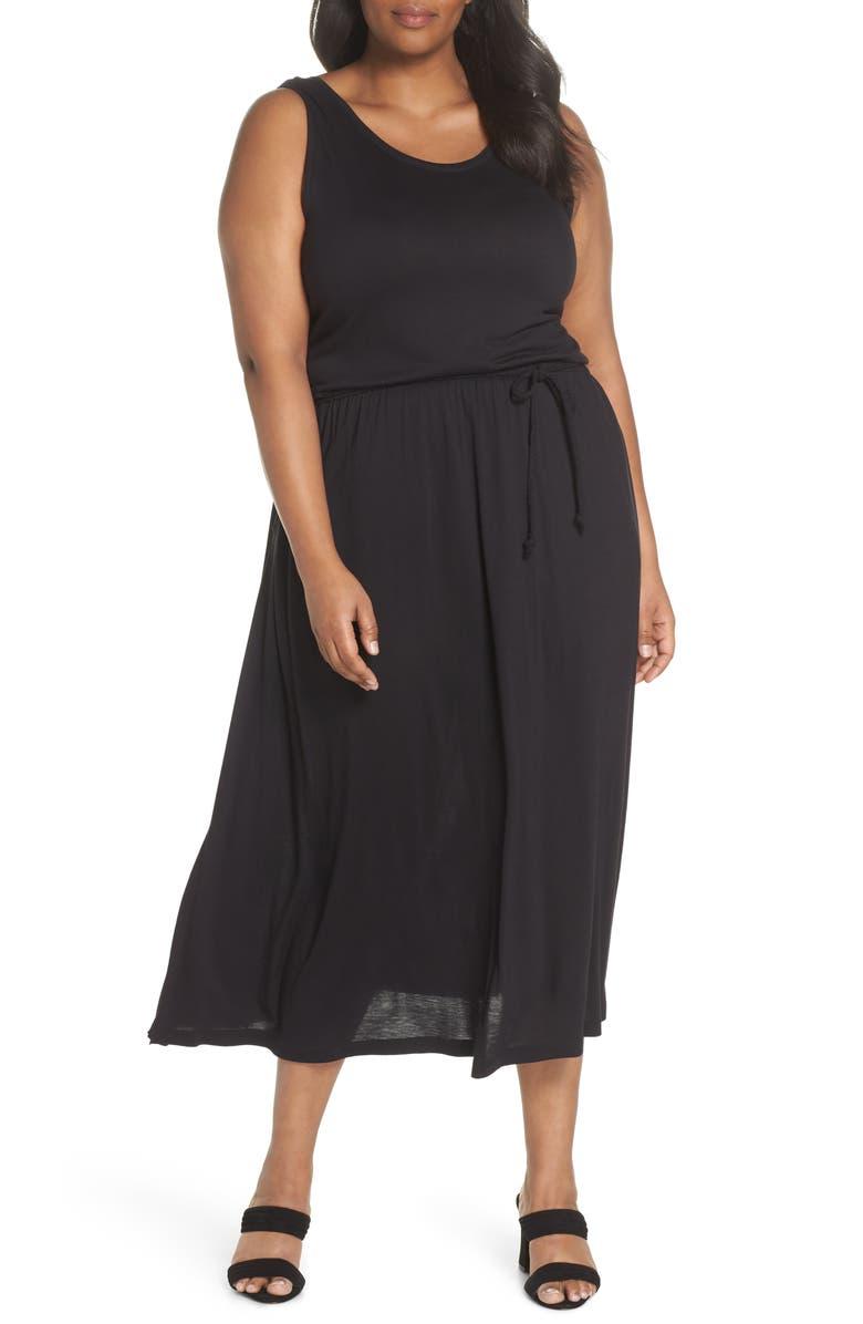 SEJOUR Strappy V-Back Maxi Dress, Main, color, 001