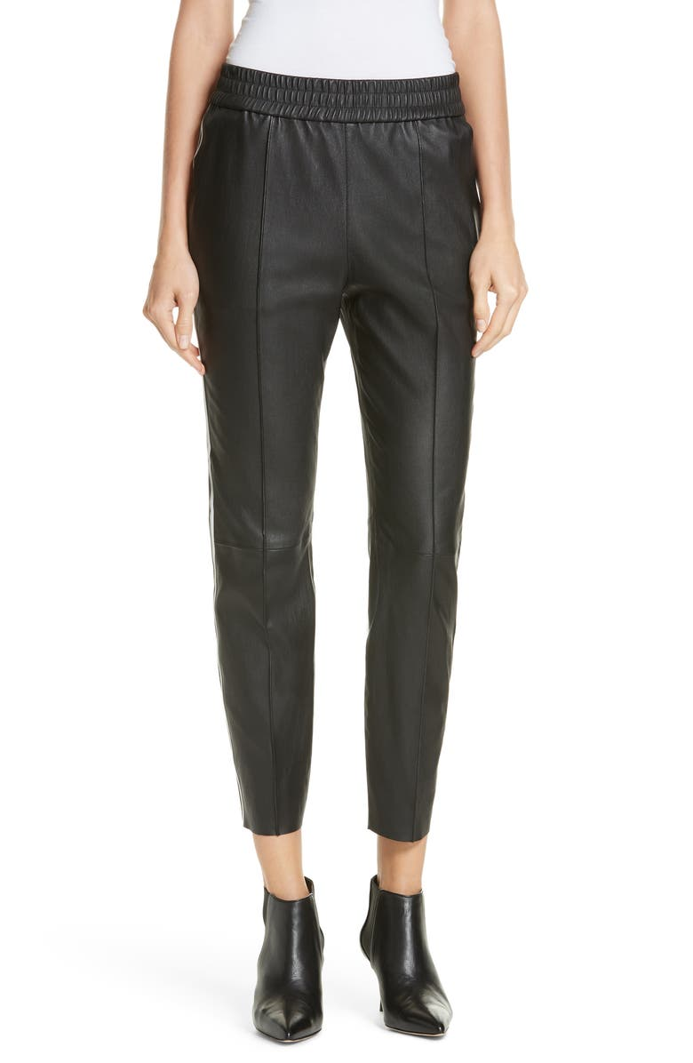 SPRWMN Two-Stripe Leather Jogger Pants, Main, color, 001