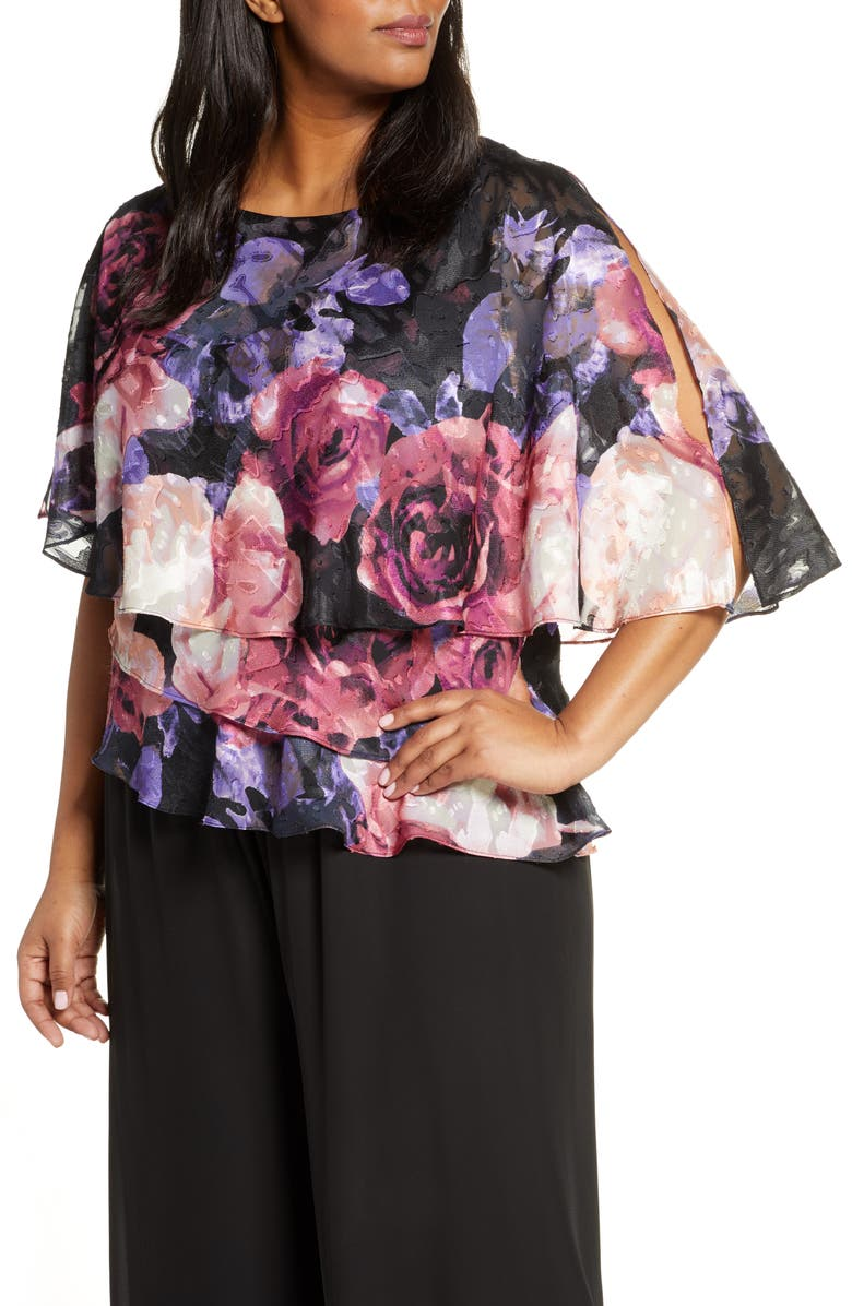ALEX EVENINGS Floral Print Tiered Chiffon Blouse, Main, color, 001