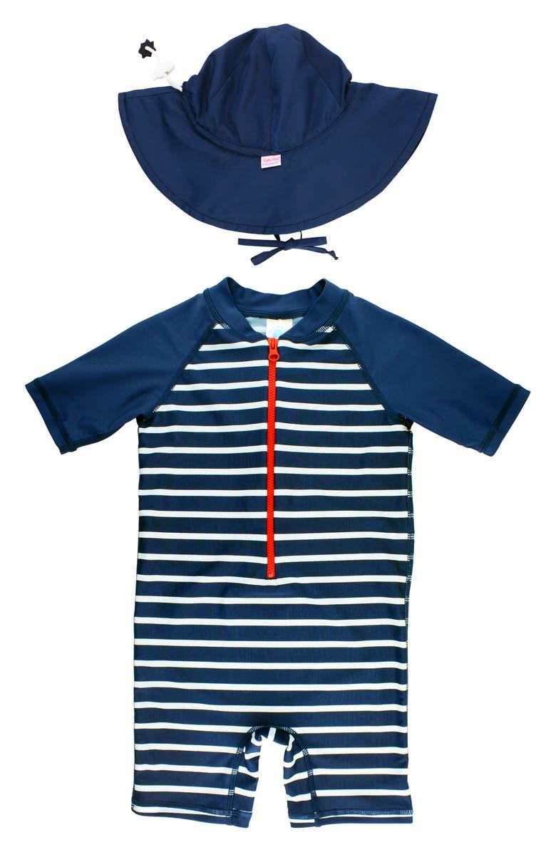RUGGEDBUTTS Stripe One-Piece Rashguard Swimsuit & Hat Set, Main, color, NAVY