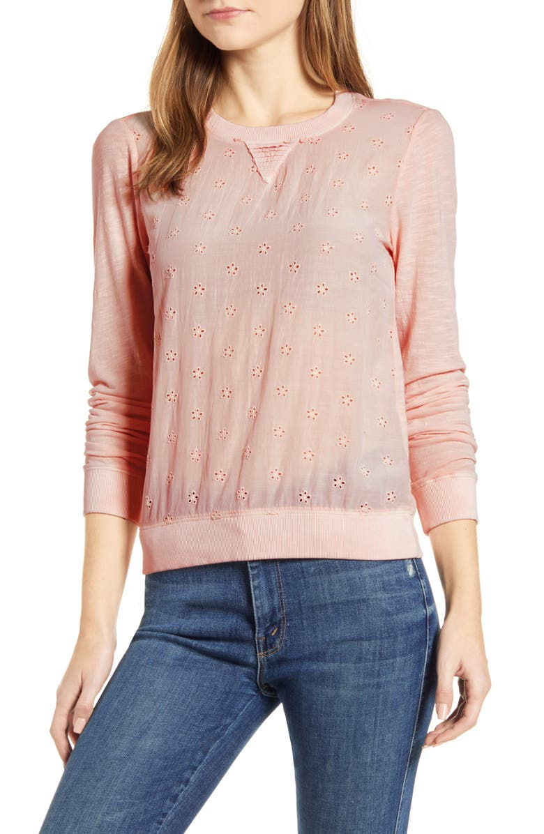 LUCKY BRAND Eyelet Long Sleeve Top, Main, color, 460