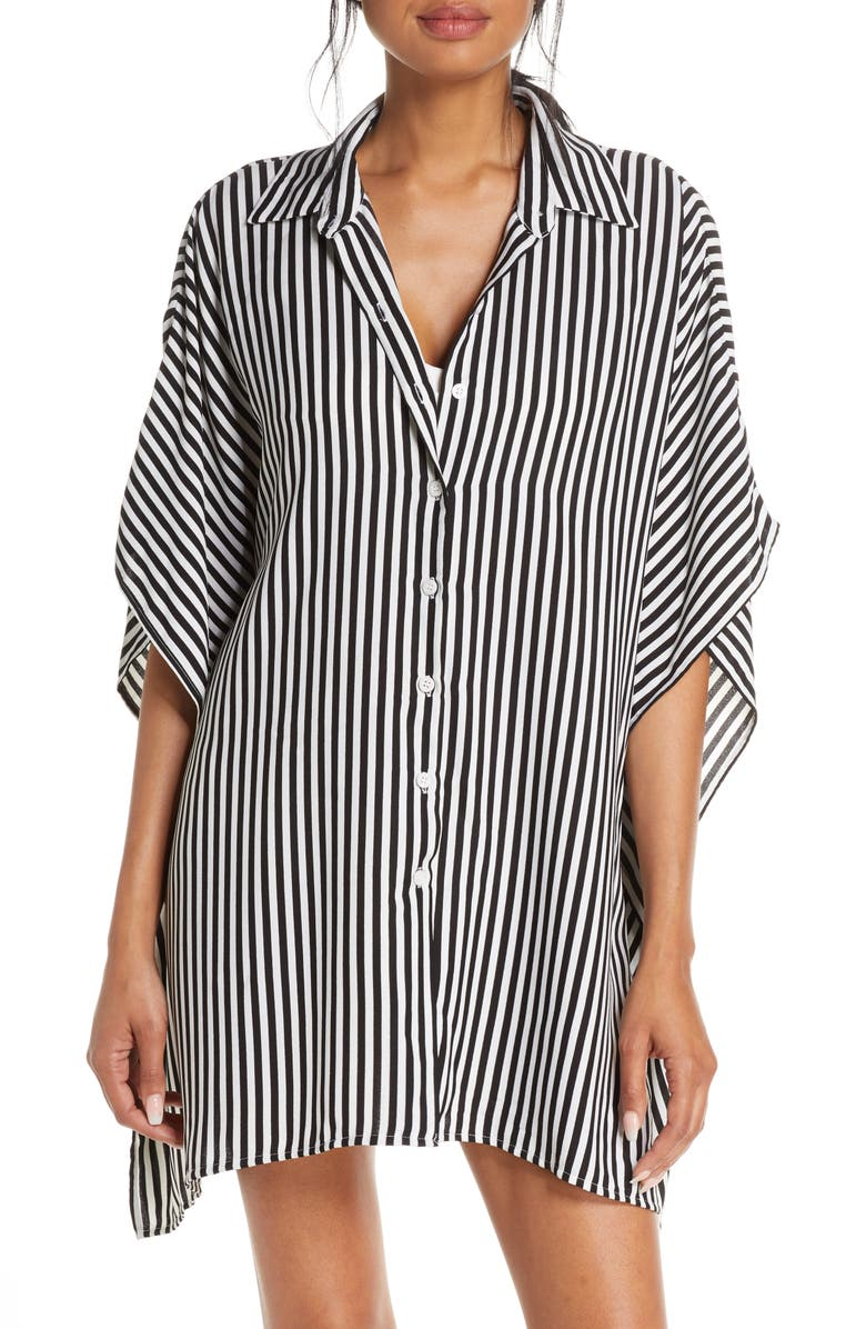 TOMMY BAHAMA Palm Party Boyfriend Tunic Shirt, Main, color, BLACK/ WHITE