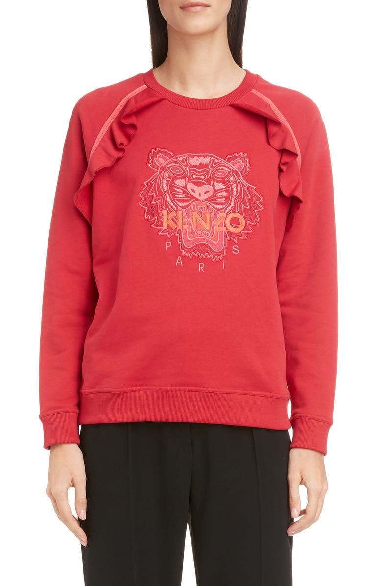 KENZO Tiger Ruffle Sweatshirt, Main, color, CHERRY