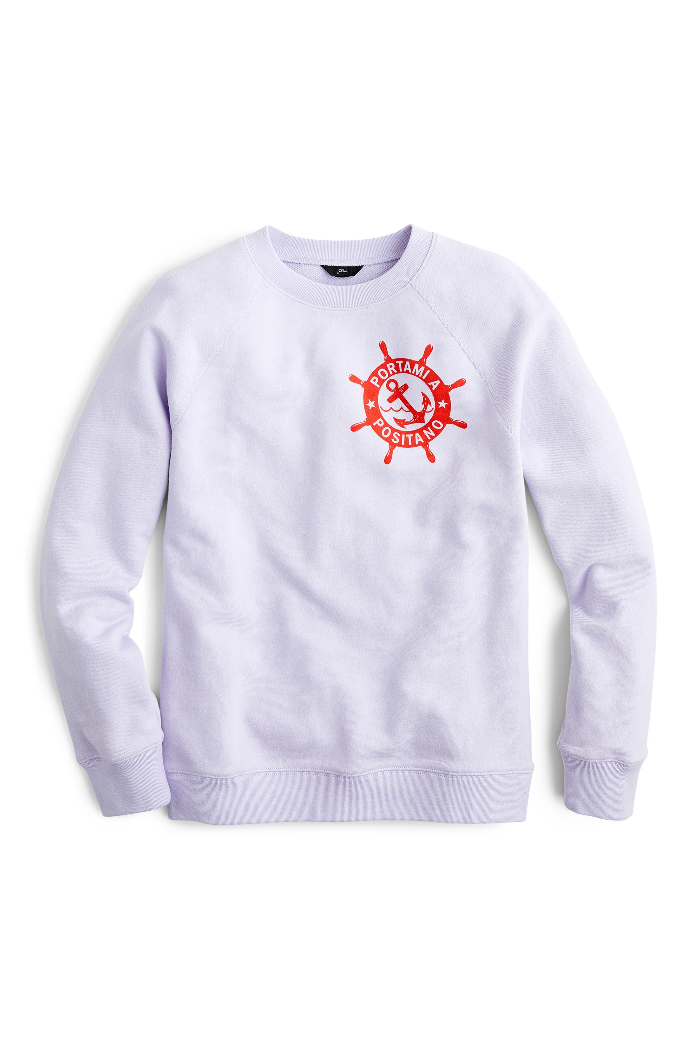 ,                             Portami a Positano Raglan Sweatshirt,                             Alternate thumbnail 4, color,                             SWEET HYACINTH