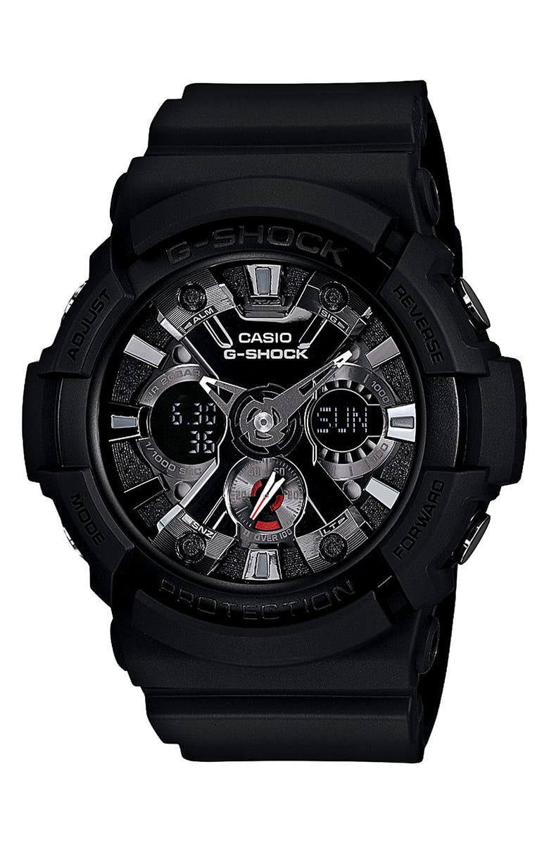 G-SHOCK BABY-G G-Shock X-Large Dual Movement Watch, 55mm, Main, color, BLACK