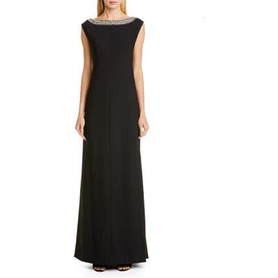 Carolina Herrera Embellished Bateau Neck Gown, Black
