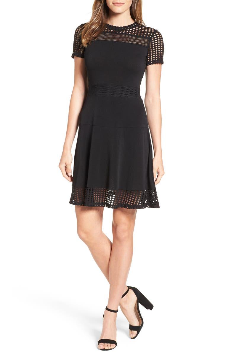MICHAEL MICHAEL KORS Mesh Combo Fit & Flare Dress, Main, color, 001