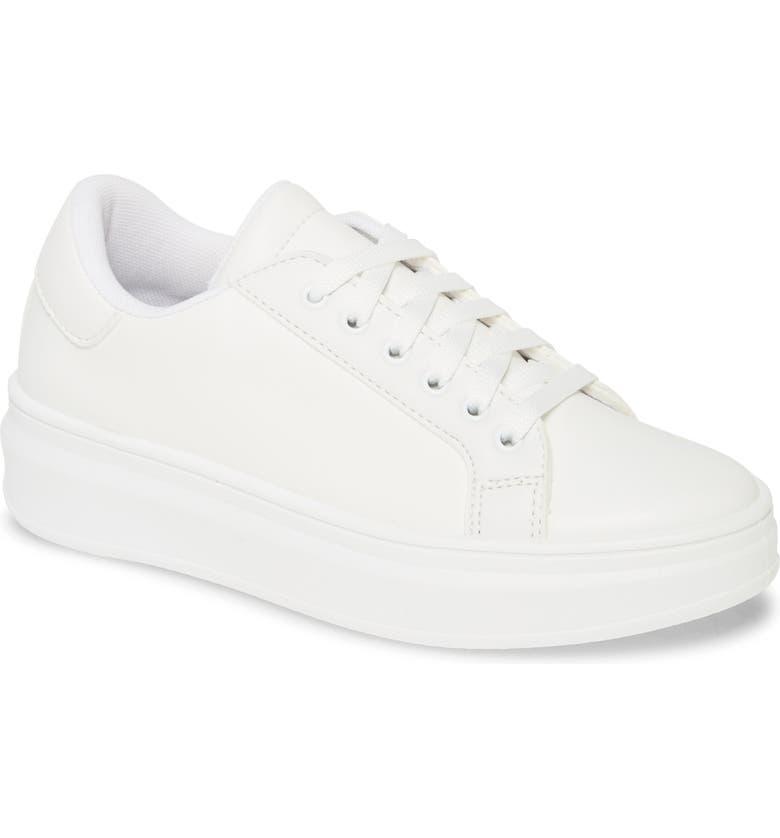 TOPSHOP Cuba Platform Sneaker, Main, color, WHITE