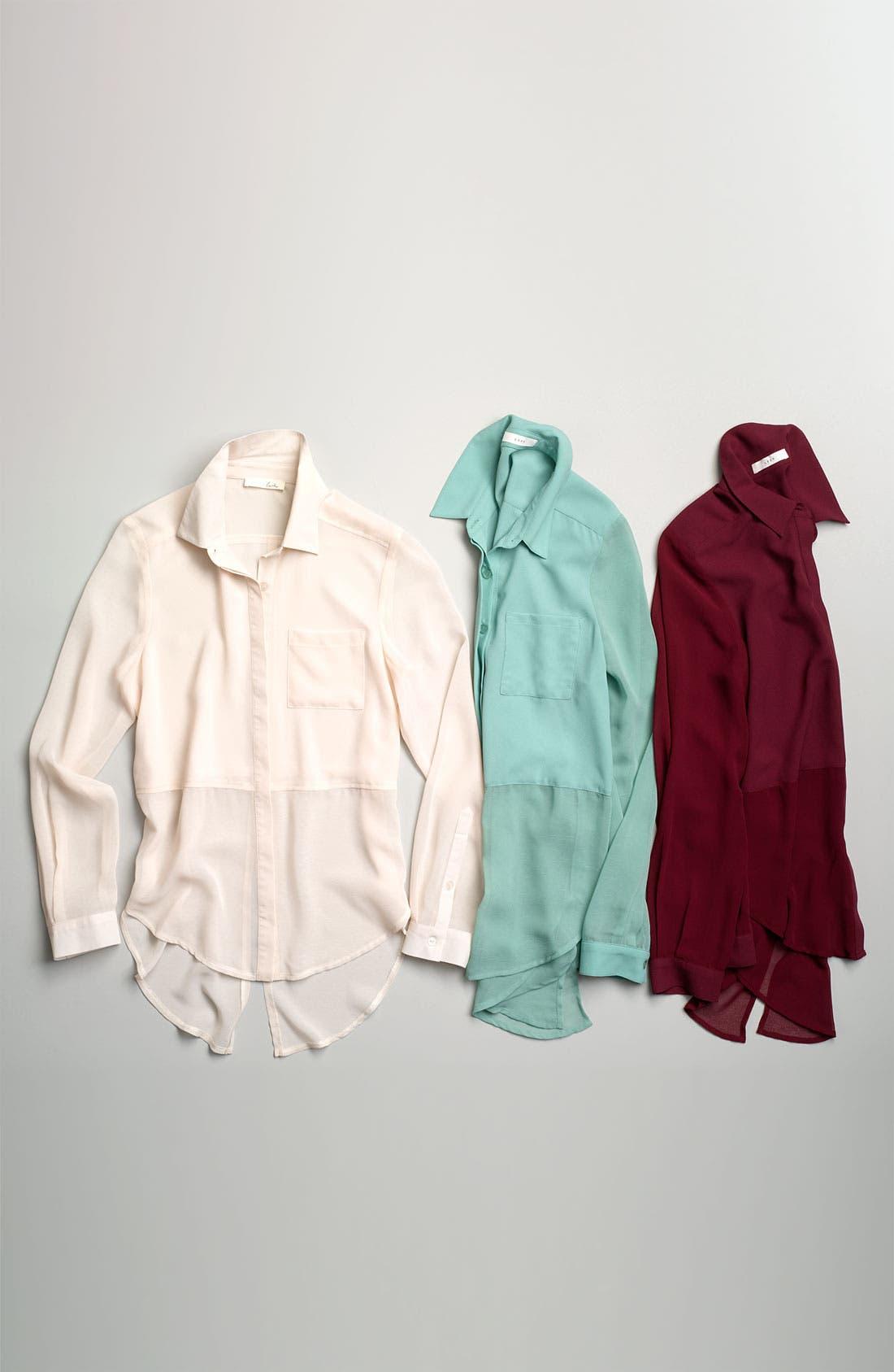 ,                             Lush Sheer Panel High/Low Shirt,                             Alternate thumbnail 4, color,                             001