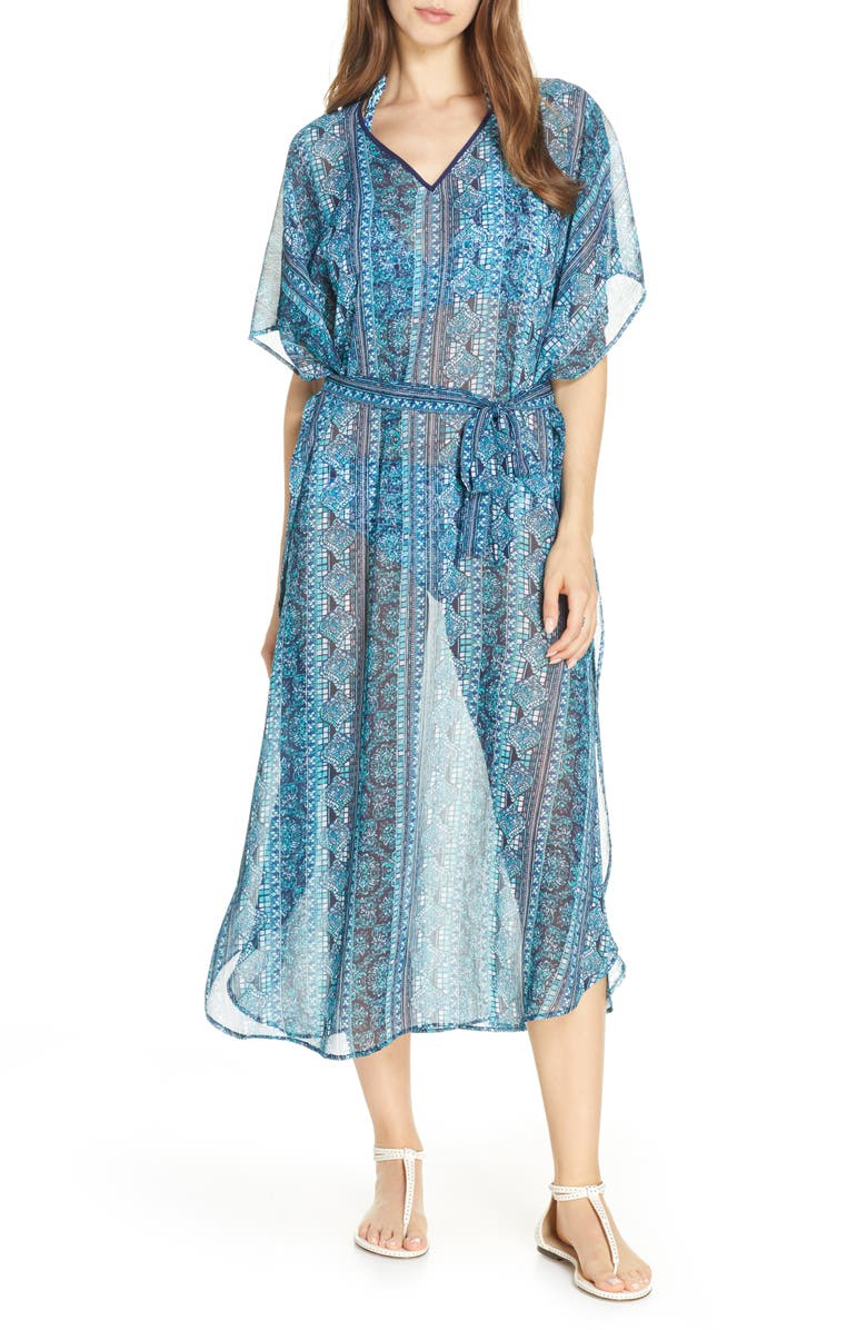 TOMMY BAHAMA Floral Isles Belted Caftan, Main, color, CALEDON SEA