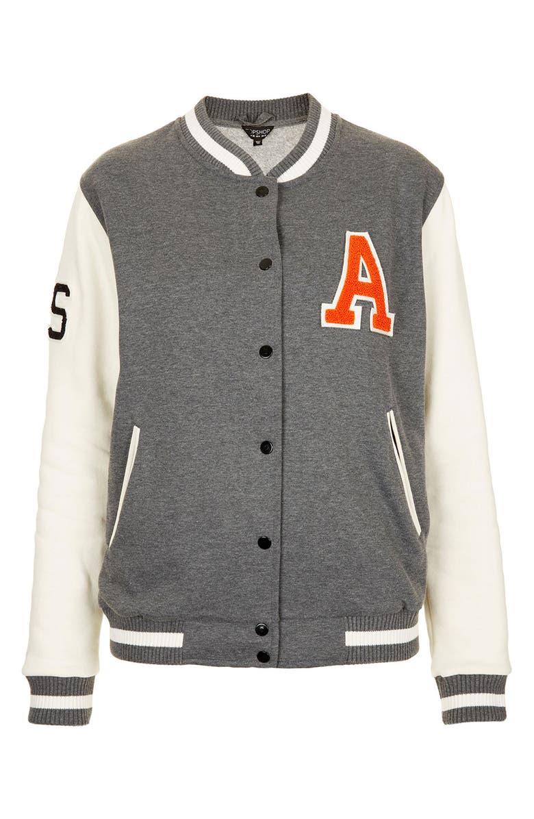 TOPSHOP Jersey Varsity Jacket, Main, color, 020