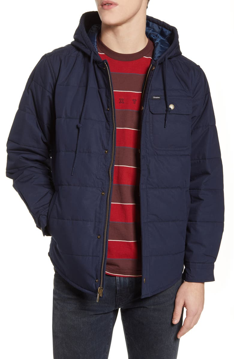 BRIXTON Cass Hooded Cotton Jacket, Main, color, NAVY