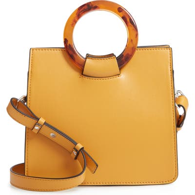 Topshop Mini Adele Faux Leather Top Handle Bag - Yellow