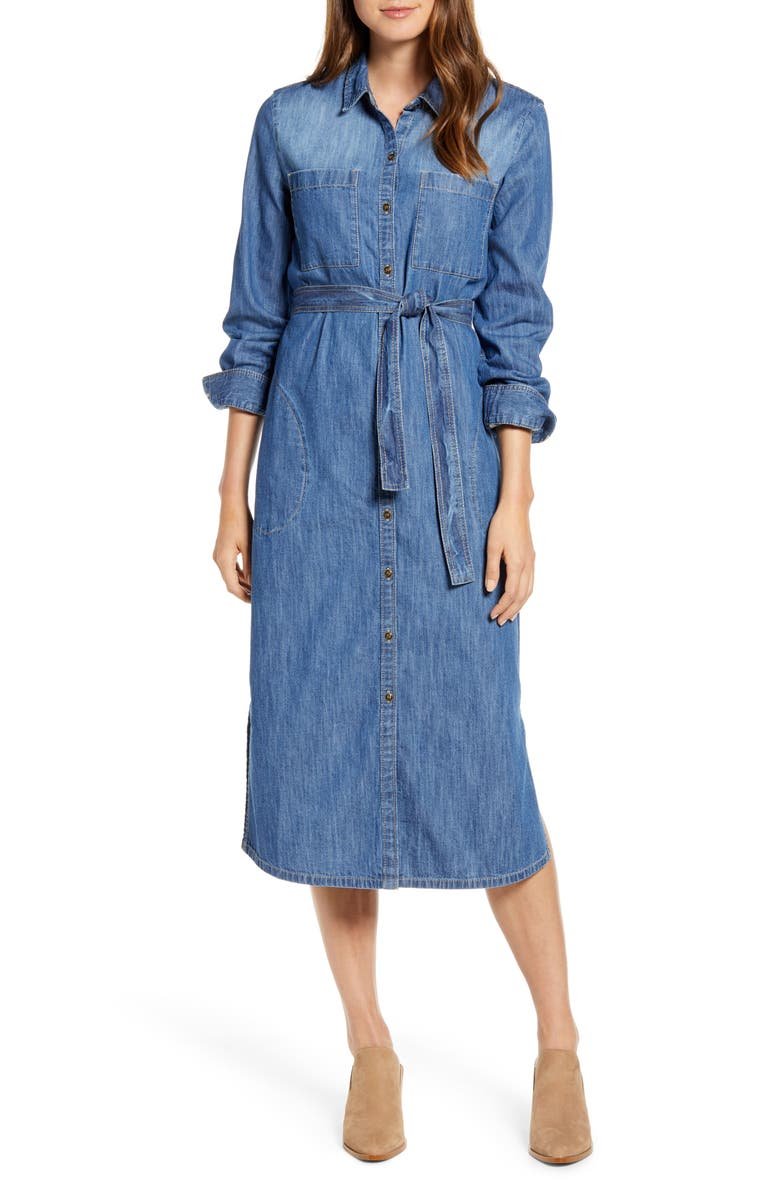 CASLON<SUP>®</SUP> Long Sleeve Denim Shirtdress, Main, color, DARK MEDIUM WASH