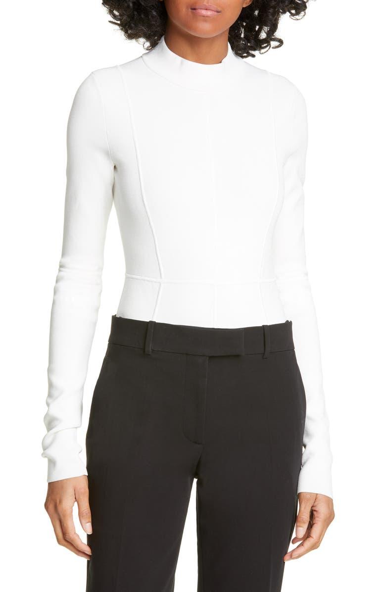 HELMUT LANG Cutout Back Long Sleeve Bodysuit, Main, color, 900