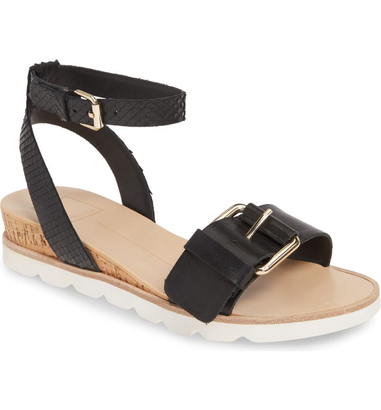 DOLCE VITA Virgo Demi Cork Sport Wedge, Main, color, BLACK LEATHER
