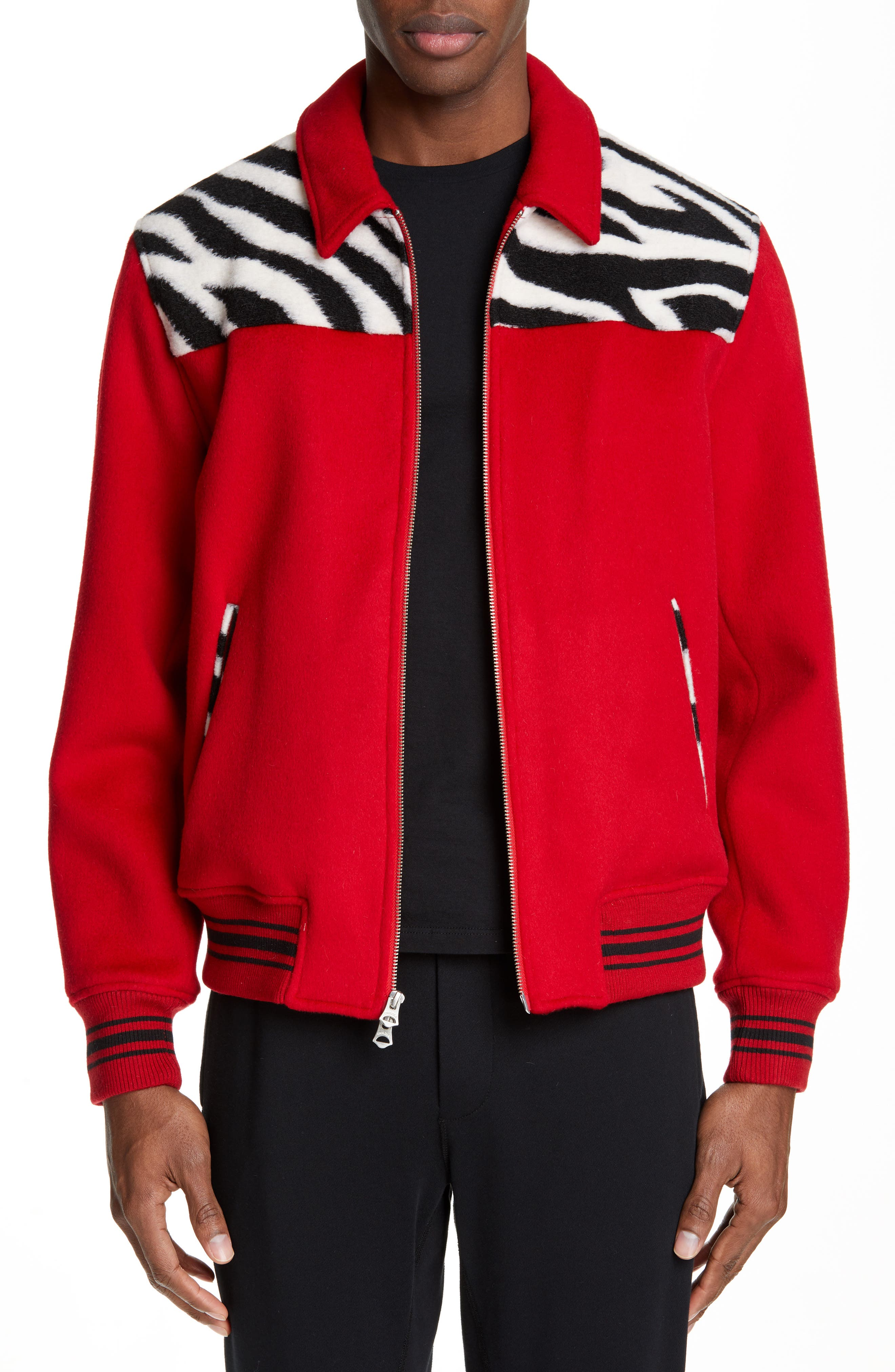 458a67361e9 $1090 Men's Ovadia & Sons Wool Varsity Jacket, Size Large - Red