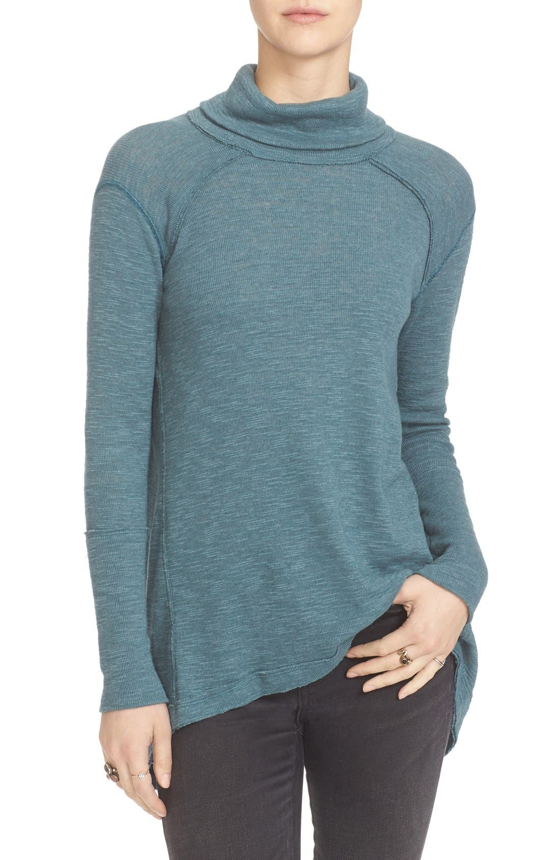 Details about  /Free People We the Free Split Back High Low Turtleneck Long Sleeve Top Size XS