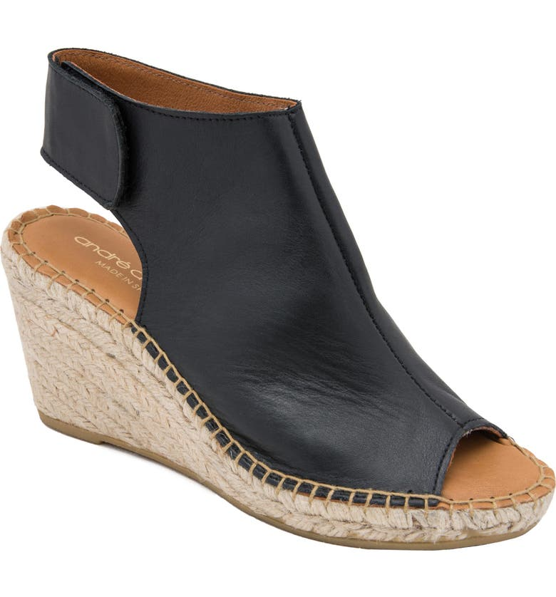 ANDRÉ ASSOUS Flora Espadrille Wedge Shield Sandal, Main, color, BLACK LEATHER