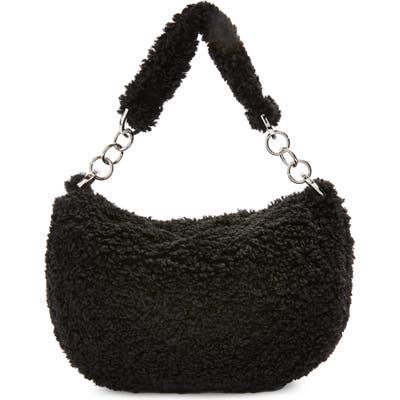 Topshop Florence Faux Fur Shoulder Bag - Black