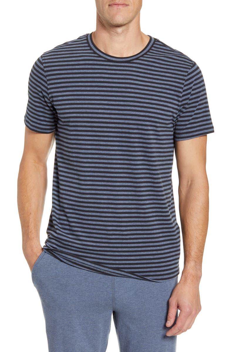 DANIEL BUCHLER Stripe Stretch Cotton & Modal Crewneck T-Shirt, Main, color, NAVY STRIPE
