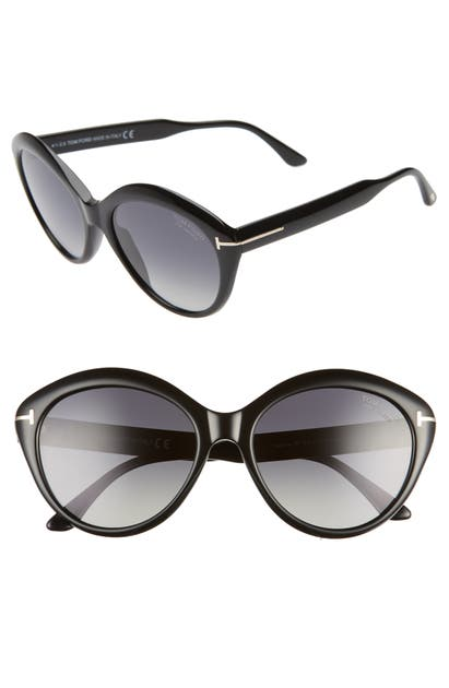 Tom Ford Maxine 56mm Polarized Round Sunglasses In Shiny Black/ Smoke Polarized