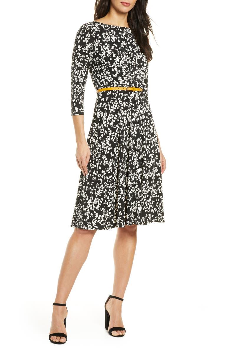 HARPER ROSE Belted Fit & Flare Dress, Main, color, BLK/ IVORY