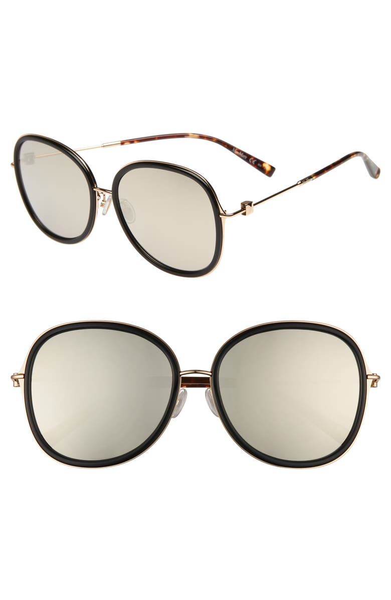 MAX MARA Marilyn 58mm Special Fit Round Sunglasses, Main, color, BLACK