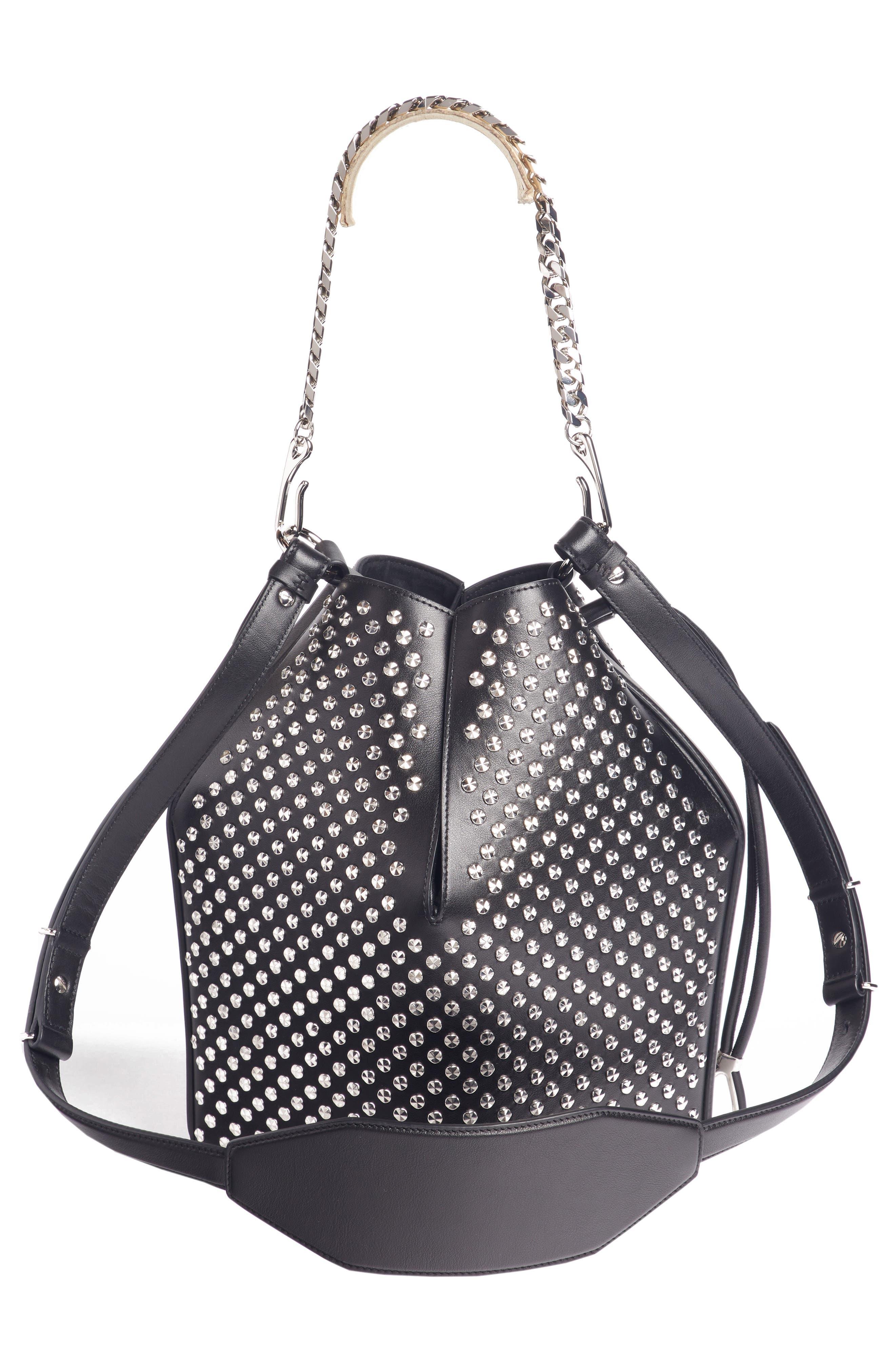 ,                             Studded Leather Bucket Bag,                             Alternate thumbnail 3, color,                             BLACK