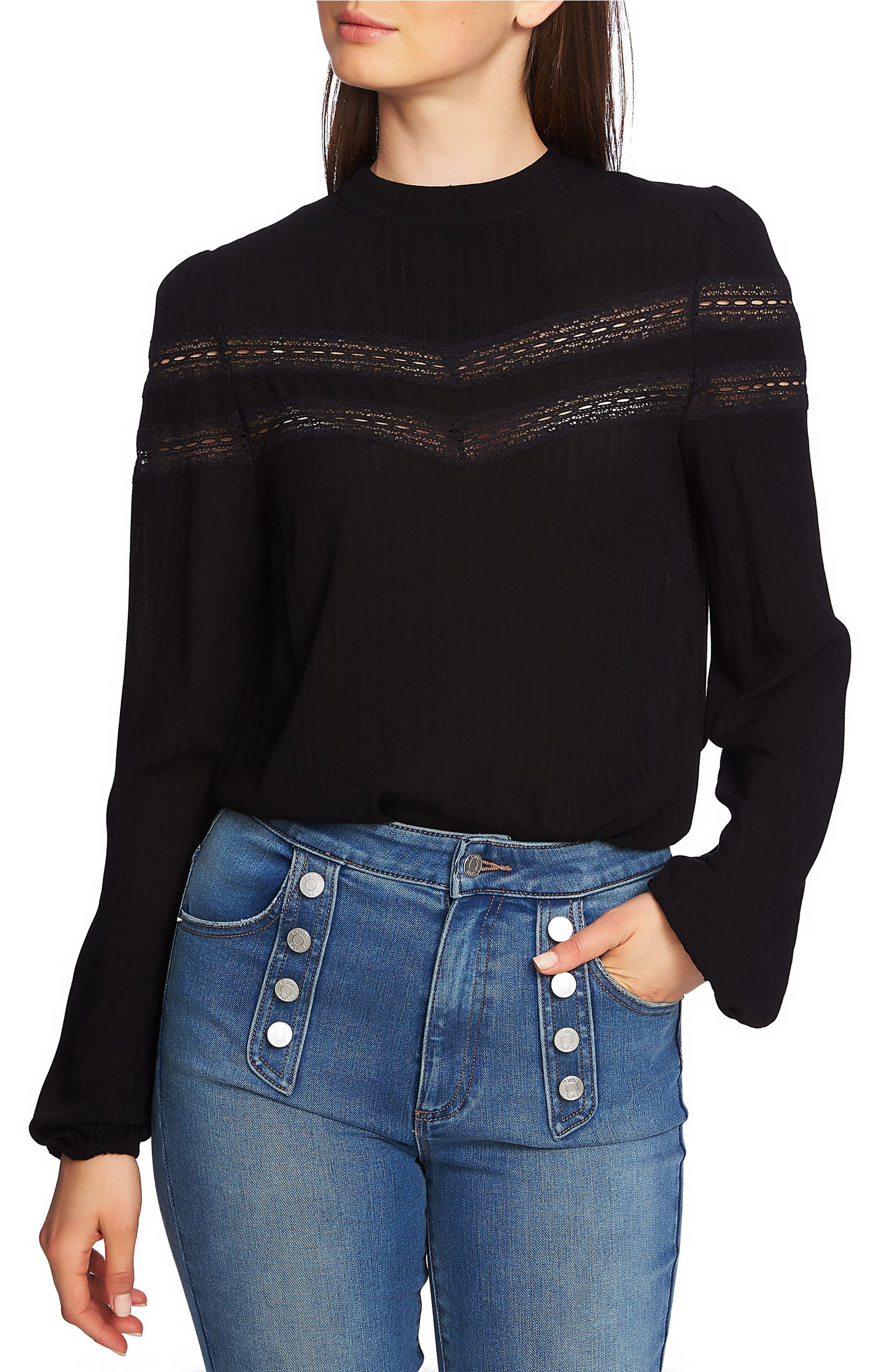 b7a2142ddb63e6 1.STATE Sheer Stripe Lace Inset Blouse | Nordstrom