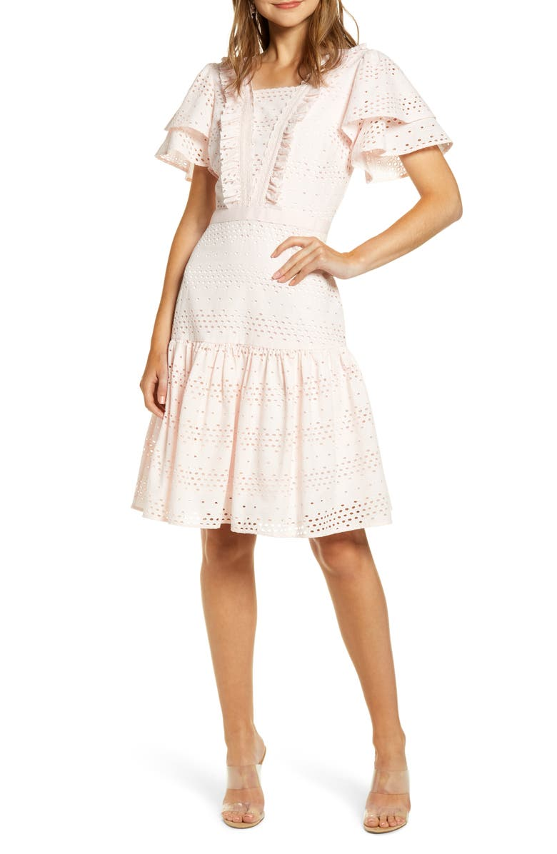 RACHEL PARCELL Lace Fit & Flare Dress, Main, color, 680