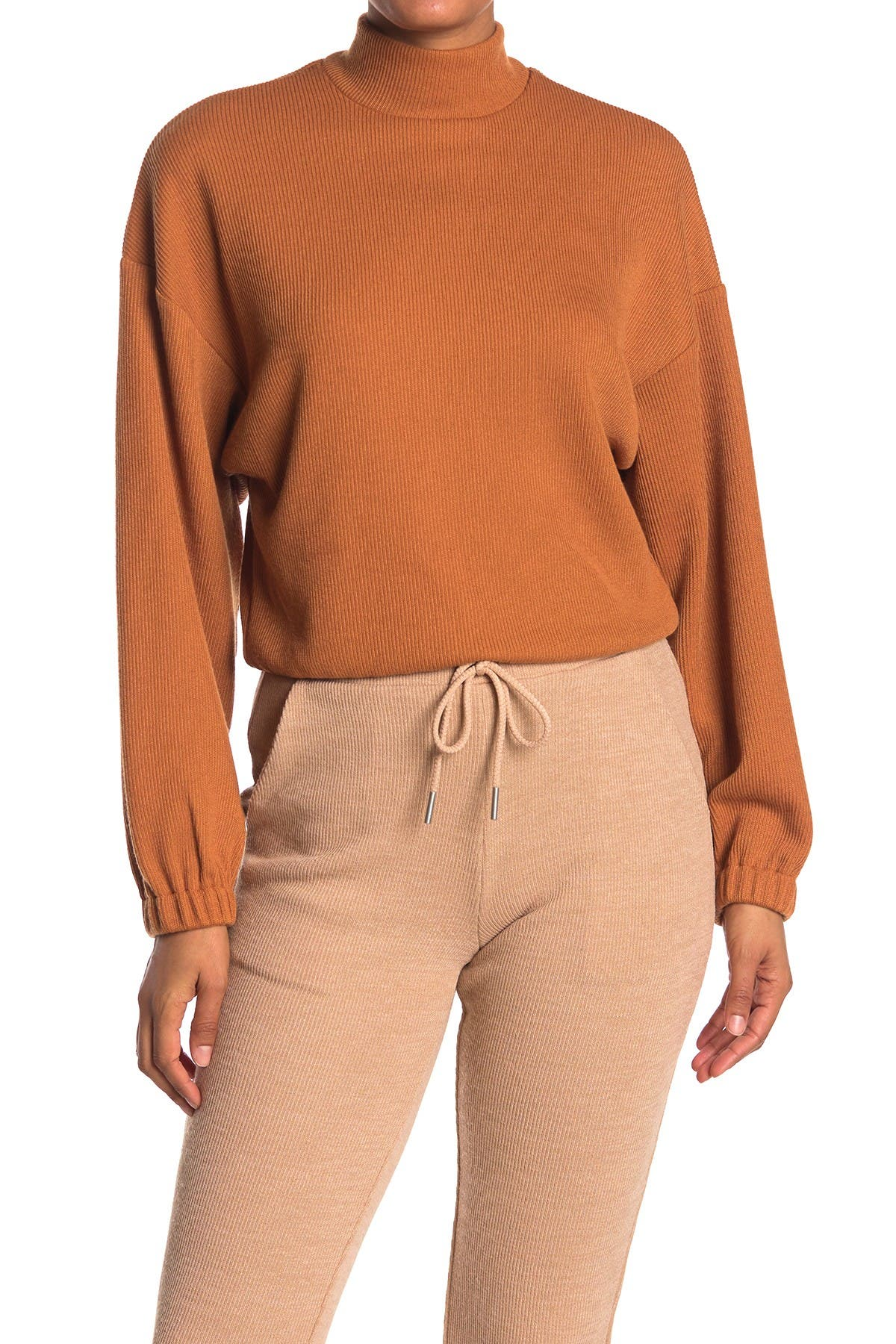 Image of Elodie Mock Neck Balloon Sleeve Ribbed Top