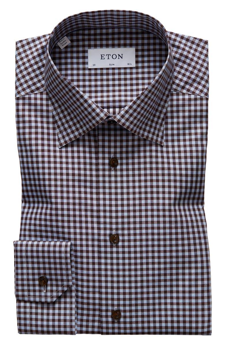 ETON Slim Fit Check Dress Shirt, Main, color, OFF WHITE/ BROWN