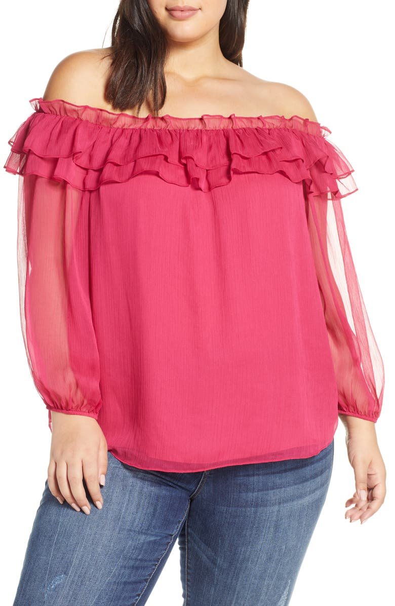 VINCE CAMUTO Ruffle Off the Shoulder Top, Main, color, WILD HIBISCUS