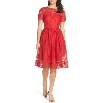 Chi Chi London Crochet Party Dress, Red