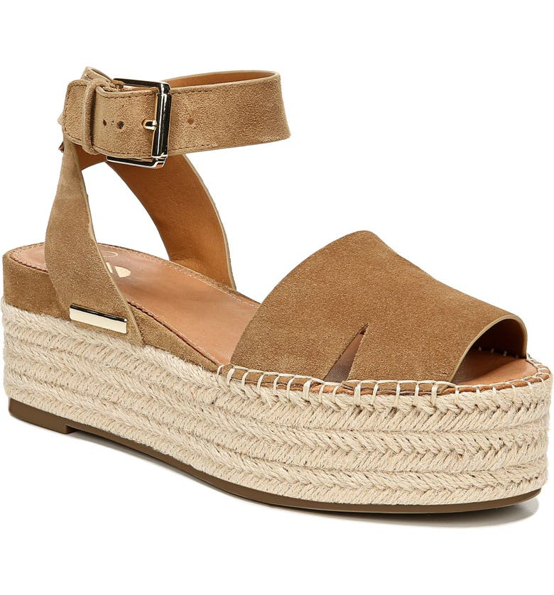 SARTO BY FRANCO SARTO Lexie Platform Espadrille Sandal, Main, color, TOASTED BARLEY LEATHER