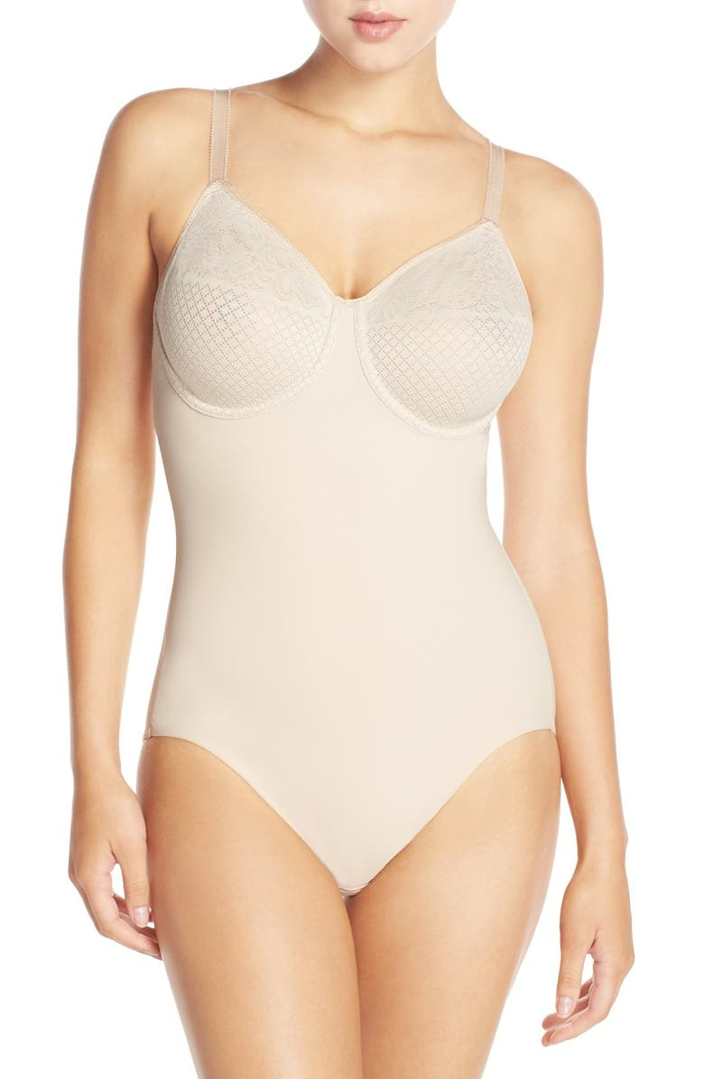 WACOAL Visual Effects Underwire Shaping Bodysuit, Main, color, SAND