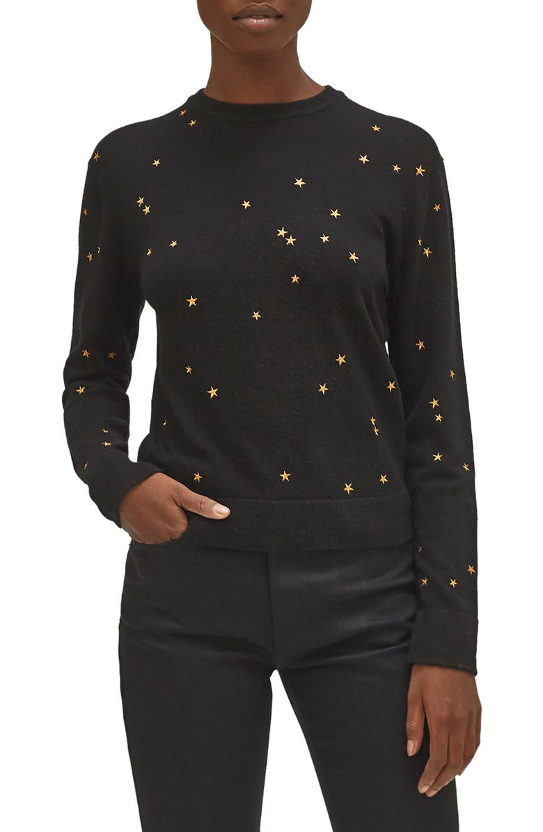 EQUIPMENT Nartelle Embroidered Star Sweater, Main, color, TRUE BLACK BROWN