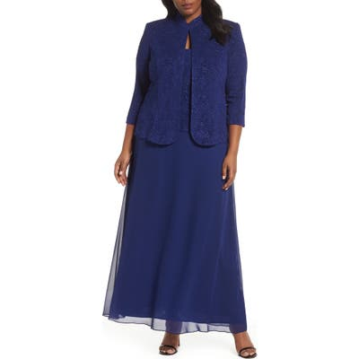 Plus Size Alex Evenings Lace & Chiffon Gown With Jacket, Blue