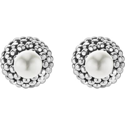 Lagos Caviar & Pearl Stud Earrings