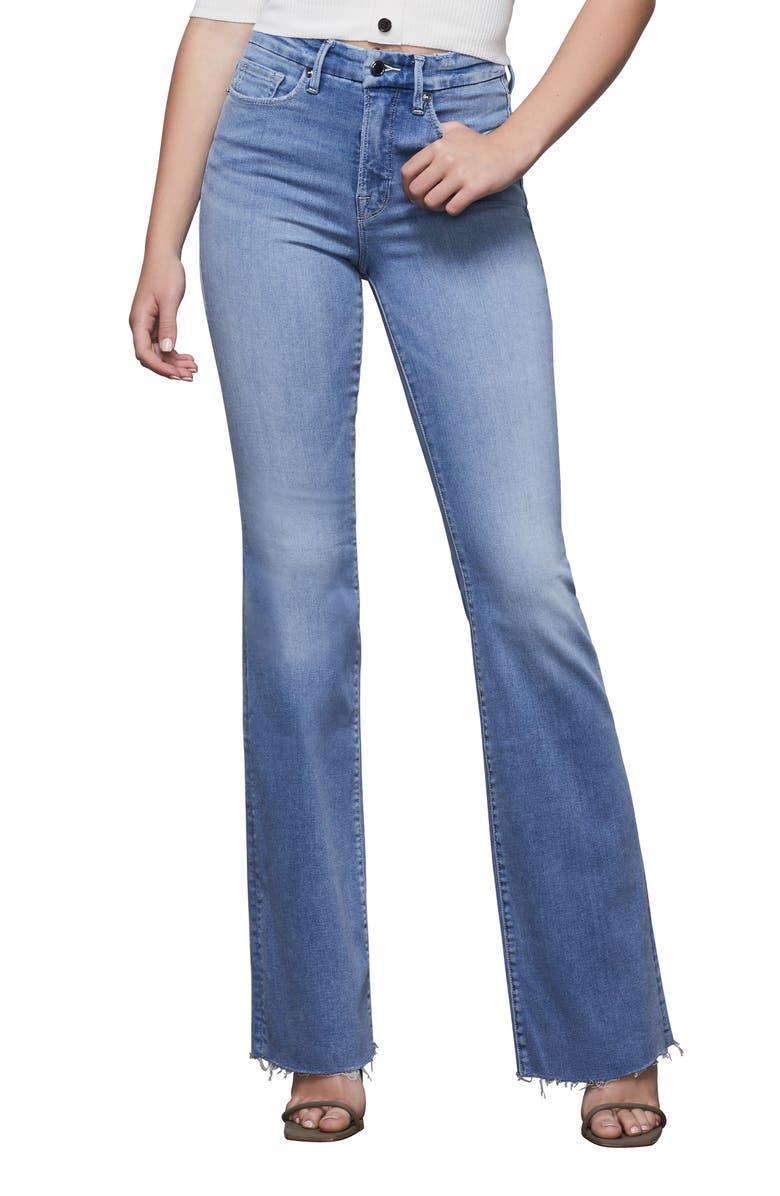 GOOD AMERICAN Good Flare Fray Hem Jeans, Main, color, BLUE381
