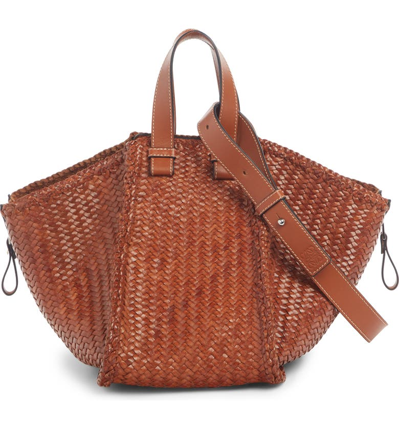 LOEWE Medium Hammock Woven Leather Hobo, Main, color, TAN
