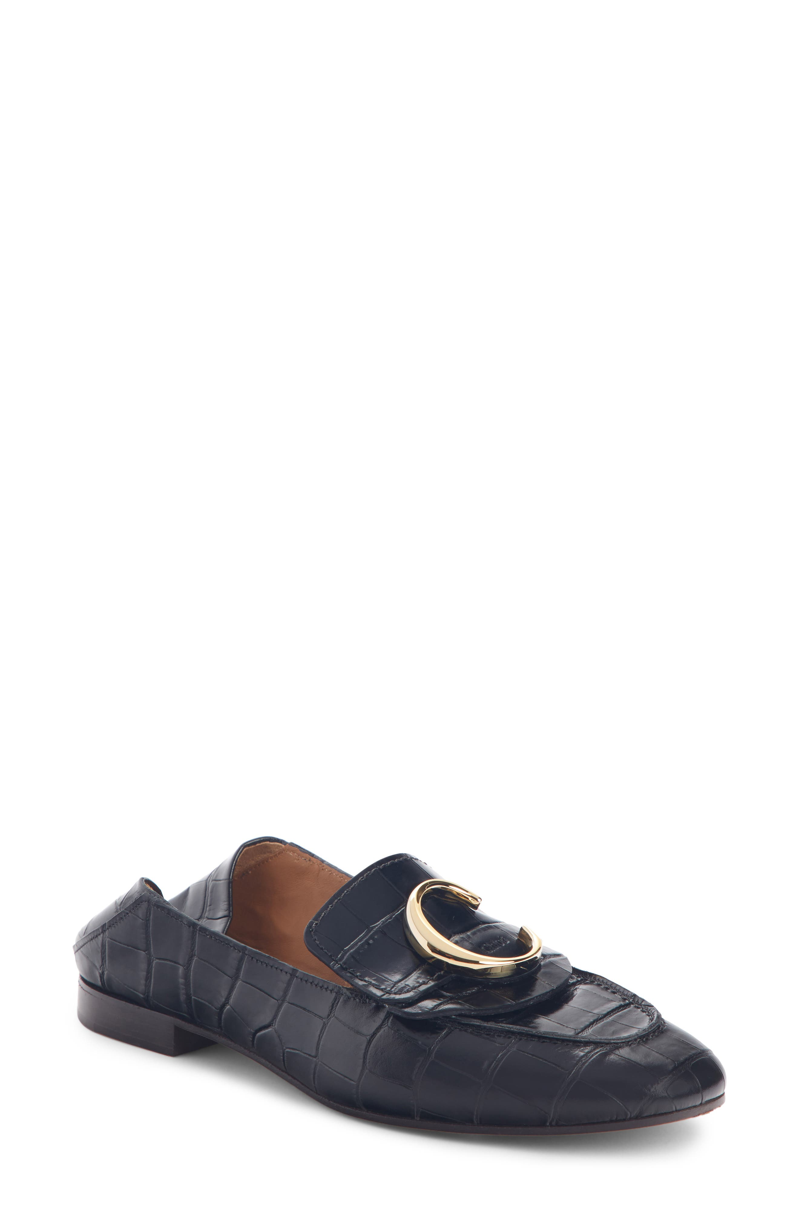 ,                             C Croc-Embossed Convertible Loafer,                             Main thumbnail 1, color,                             BLACK